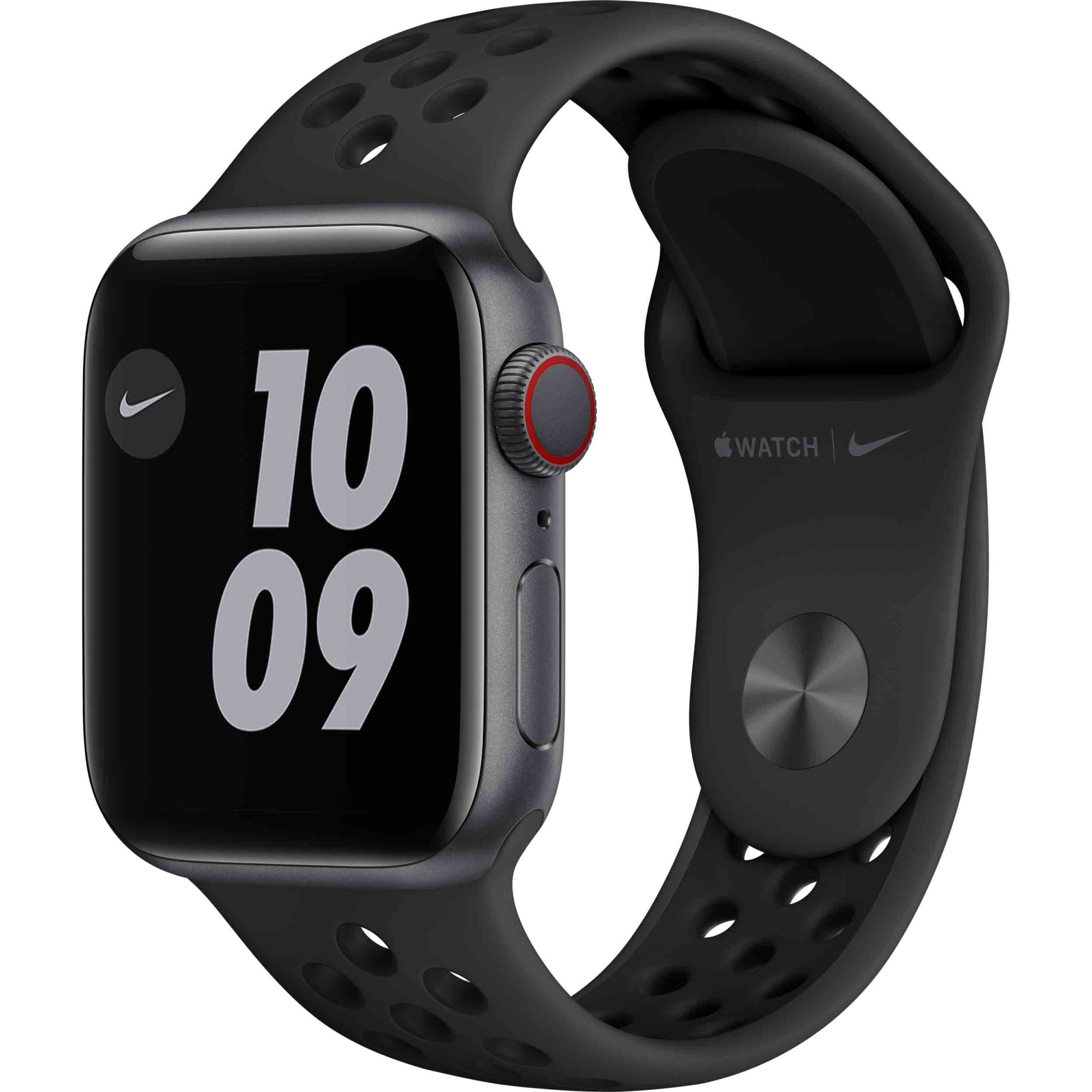 Fotografie Apple Watch Nike 6, GPS, Cellular, Carcasa Space Gray Aluminium 40mm, Anthracite/Black Nike Sport Band