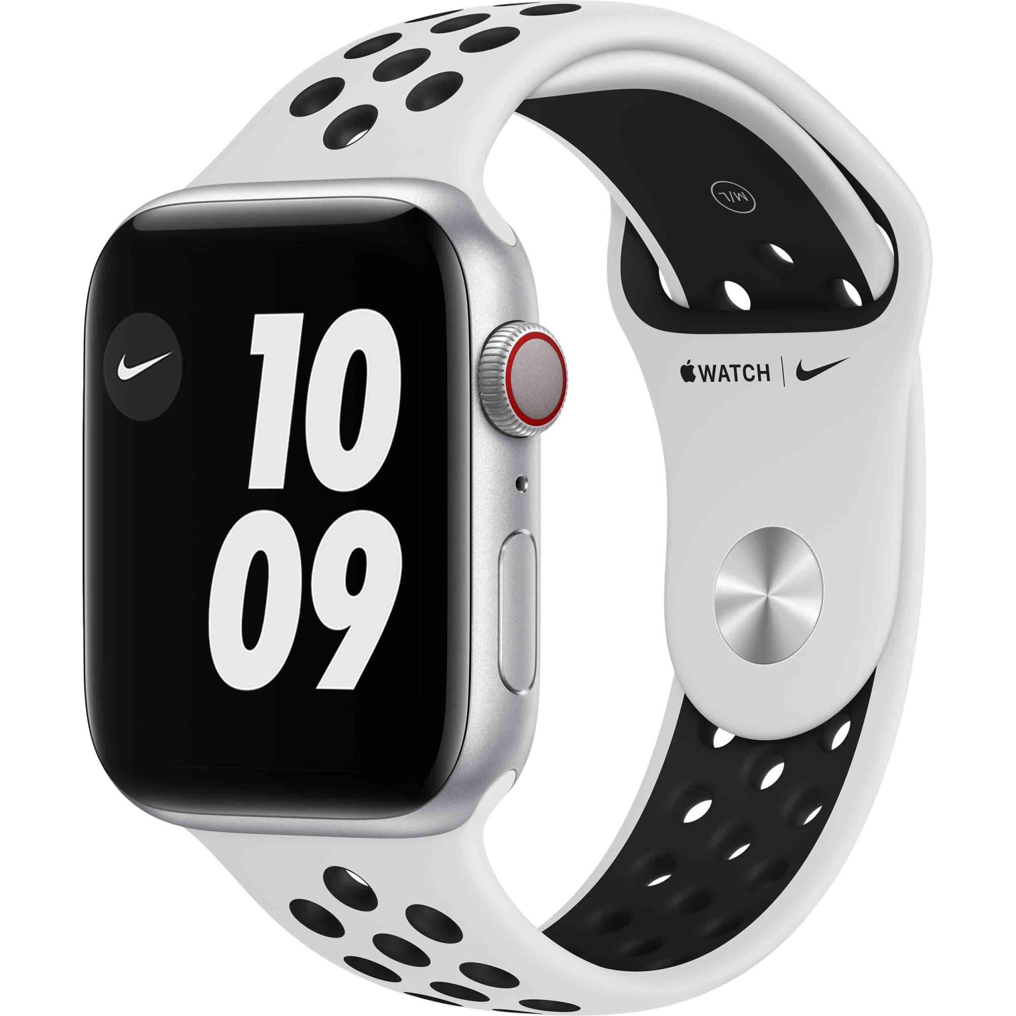 Fotografie Apple Watch Nike 6, GPS, Cellular, Carcasa Silver Aluminium 44mm, Pure Platinum/Black Nike Sport Band