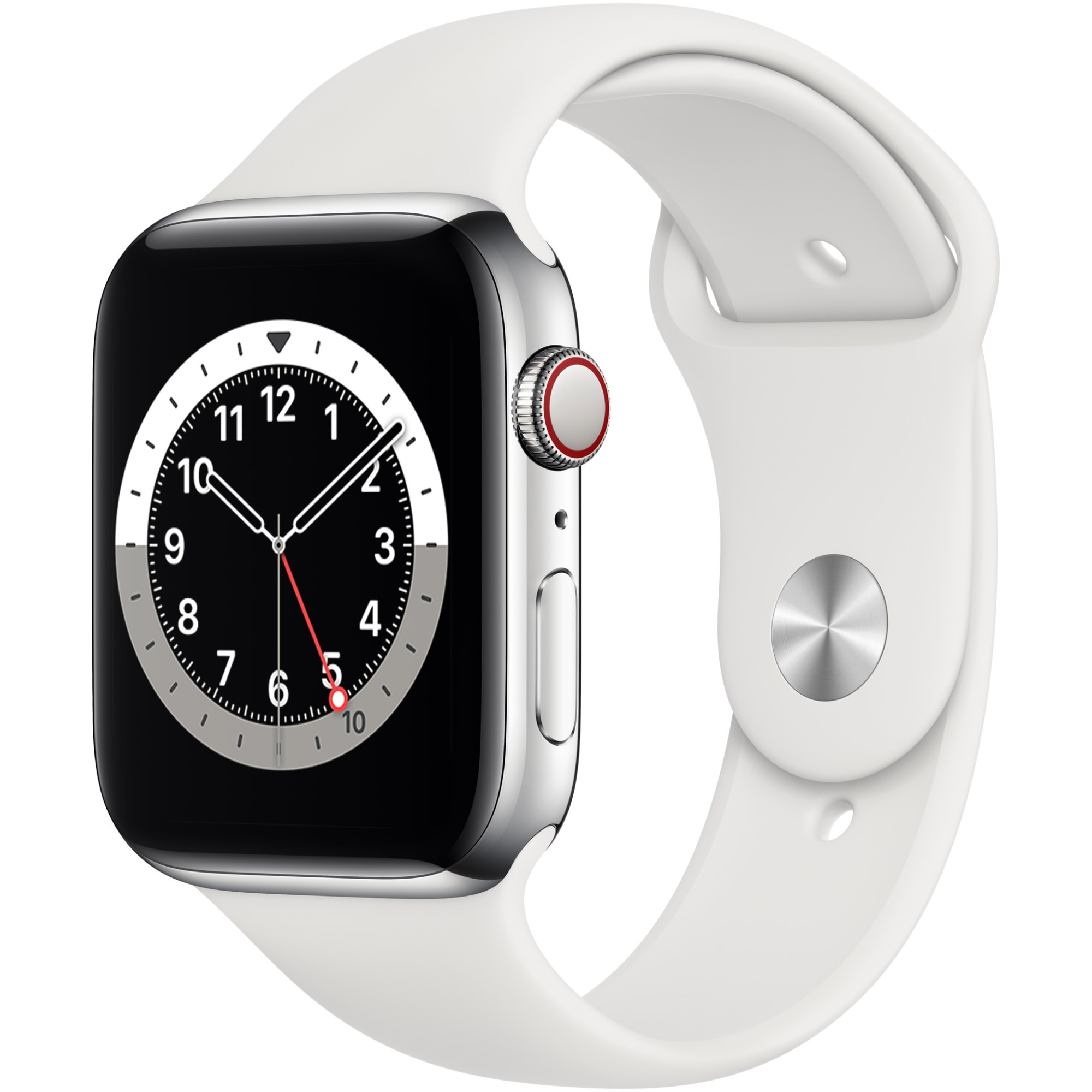 Fotografie Apple Watch 6, GPS, Cellular, Carcasa Silver Stainless Steel 44mm, White Sport Band