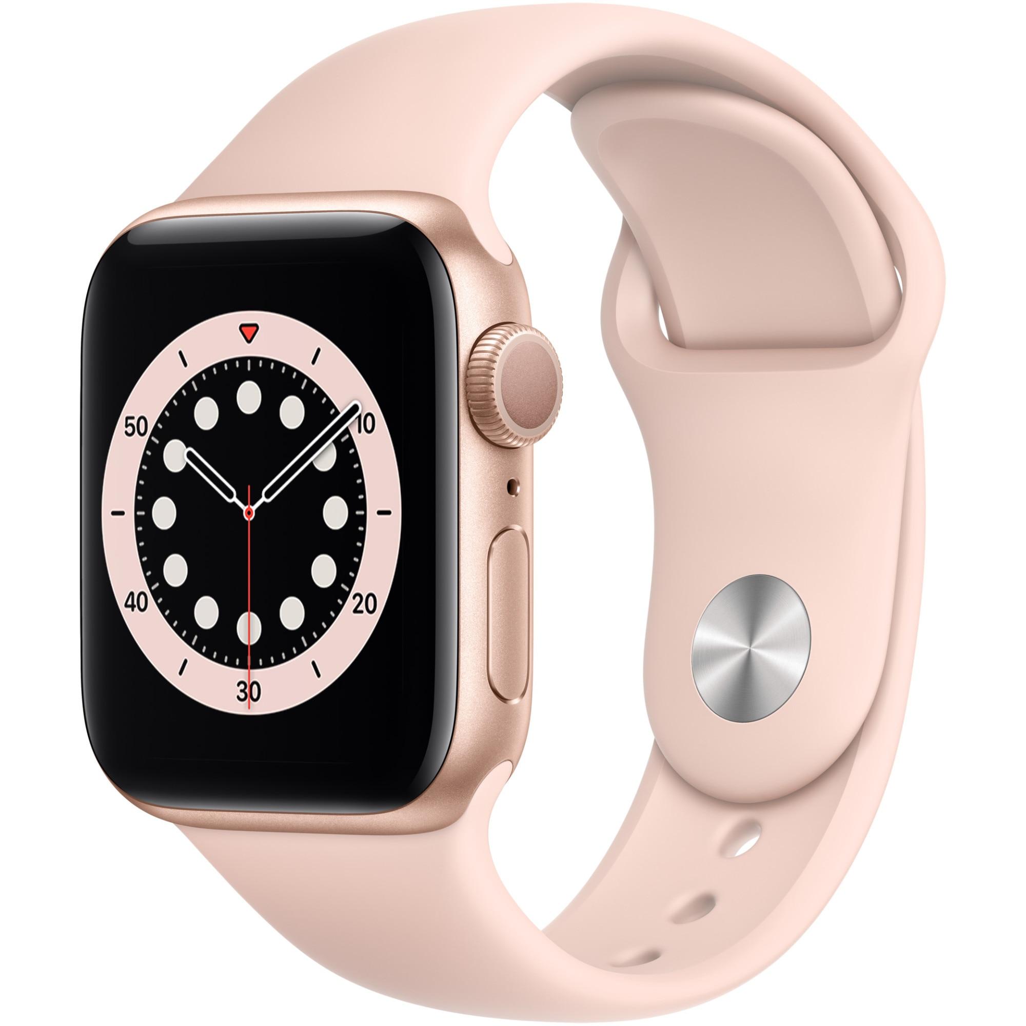 Fotografie Apple Watch 6, GPS, Carcasa Gold Aluminium 40mm, Pink Sand Sport Band