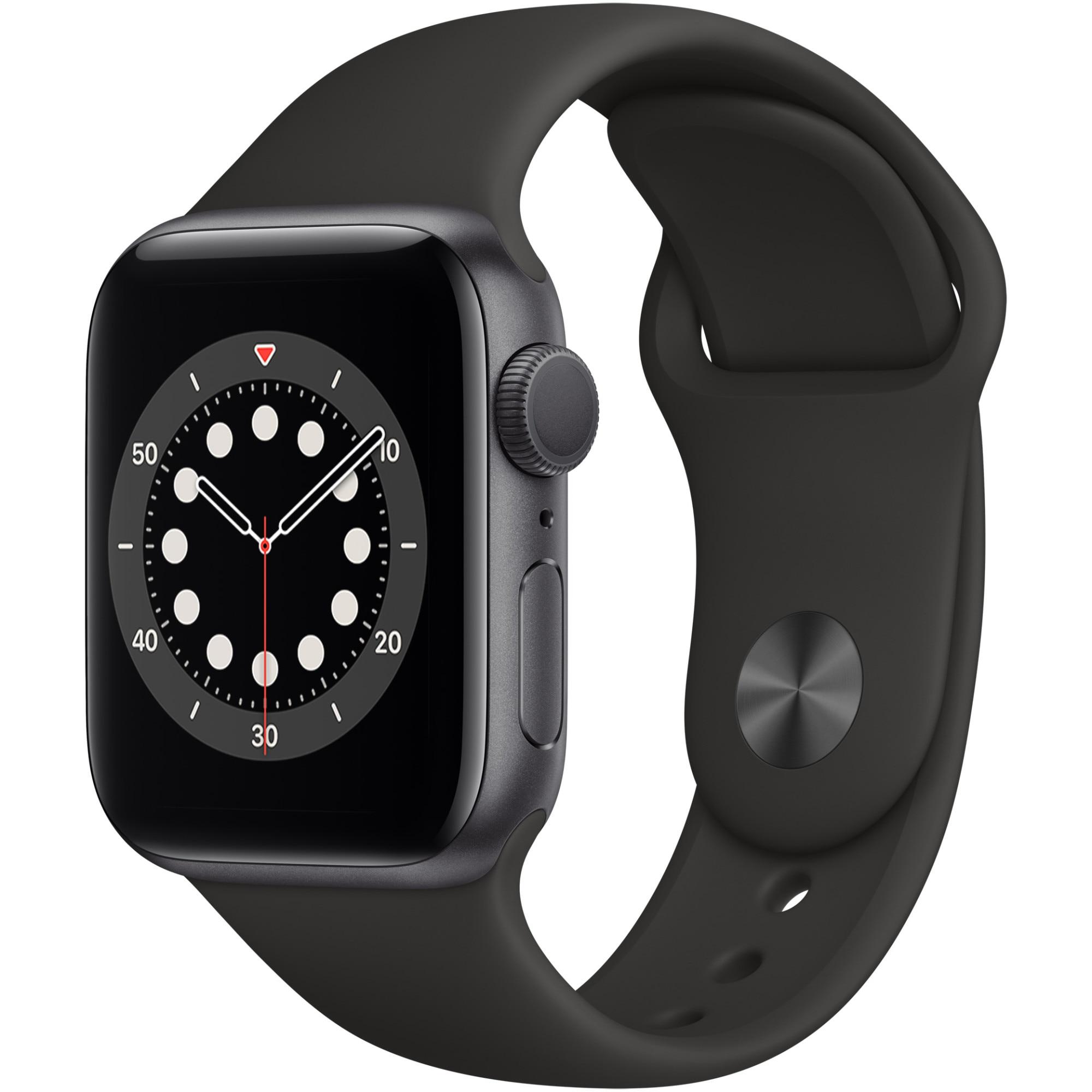 Fotografie Apple Watch 6, GPS, Carcasa Space Gray Aluminium 40mm, Black Sport Band