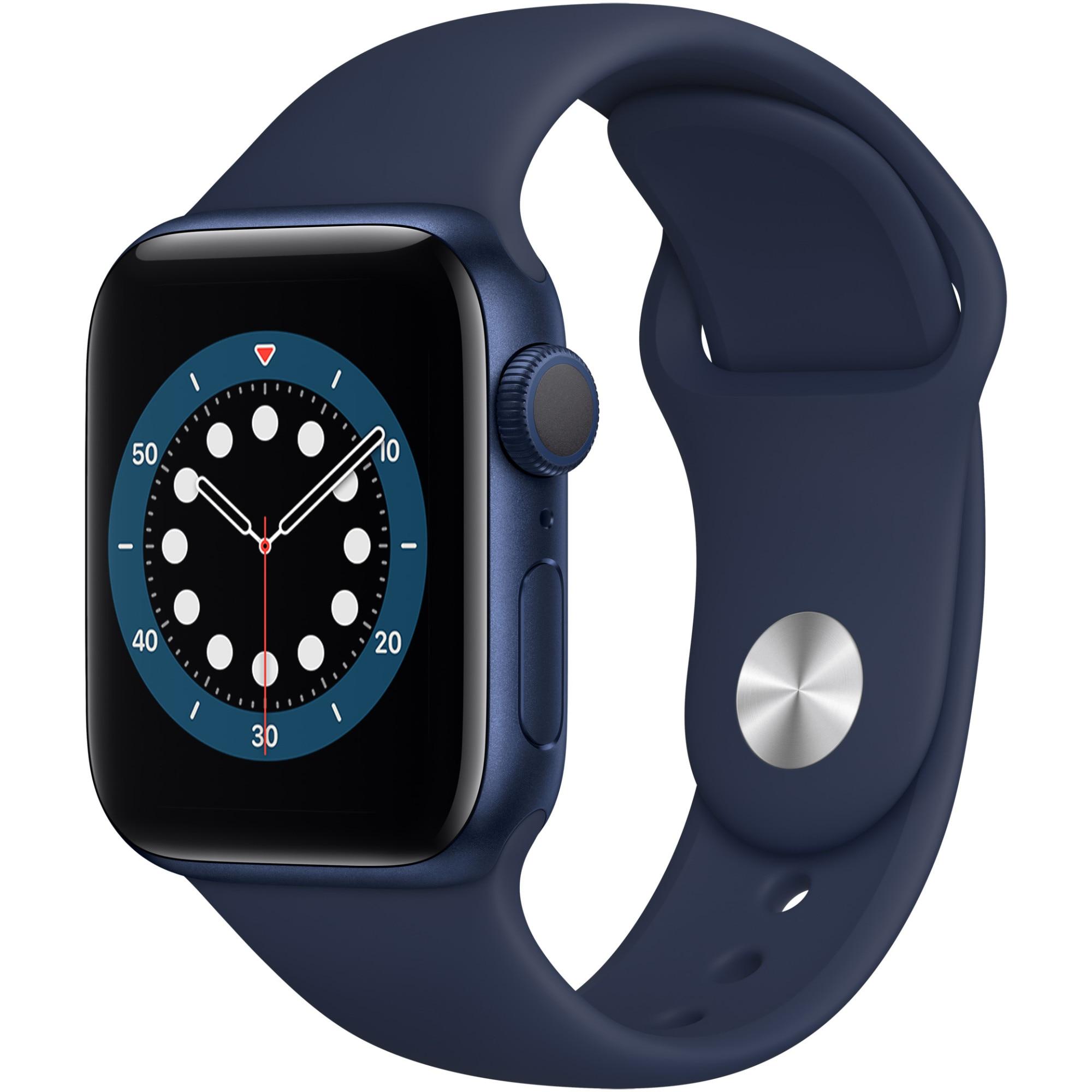 Fotografie Apple Watch 6, GPS, Carcasa Blue Aluminium 40mm, Deep Navy Sport Band