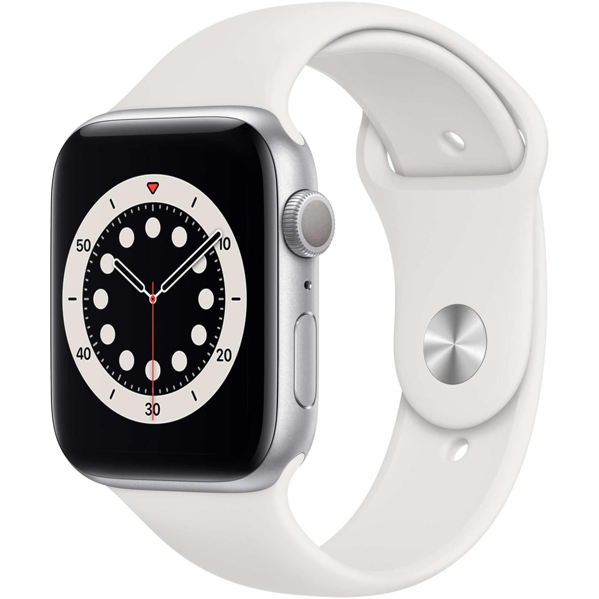 Fotografie Apple Watch 6, GPS, Carcasa Silver Aluminium 44mm, White Sport Band