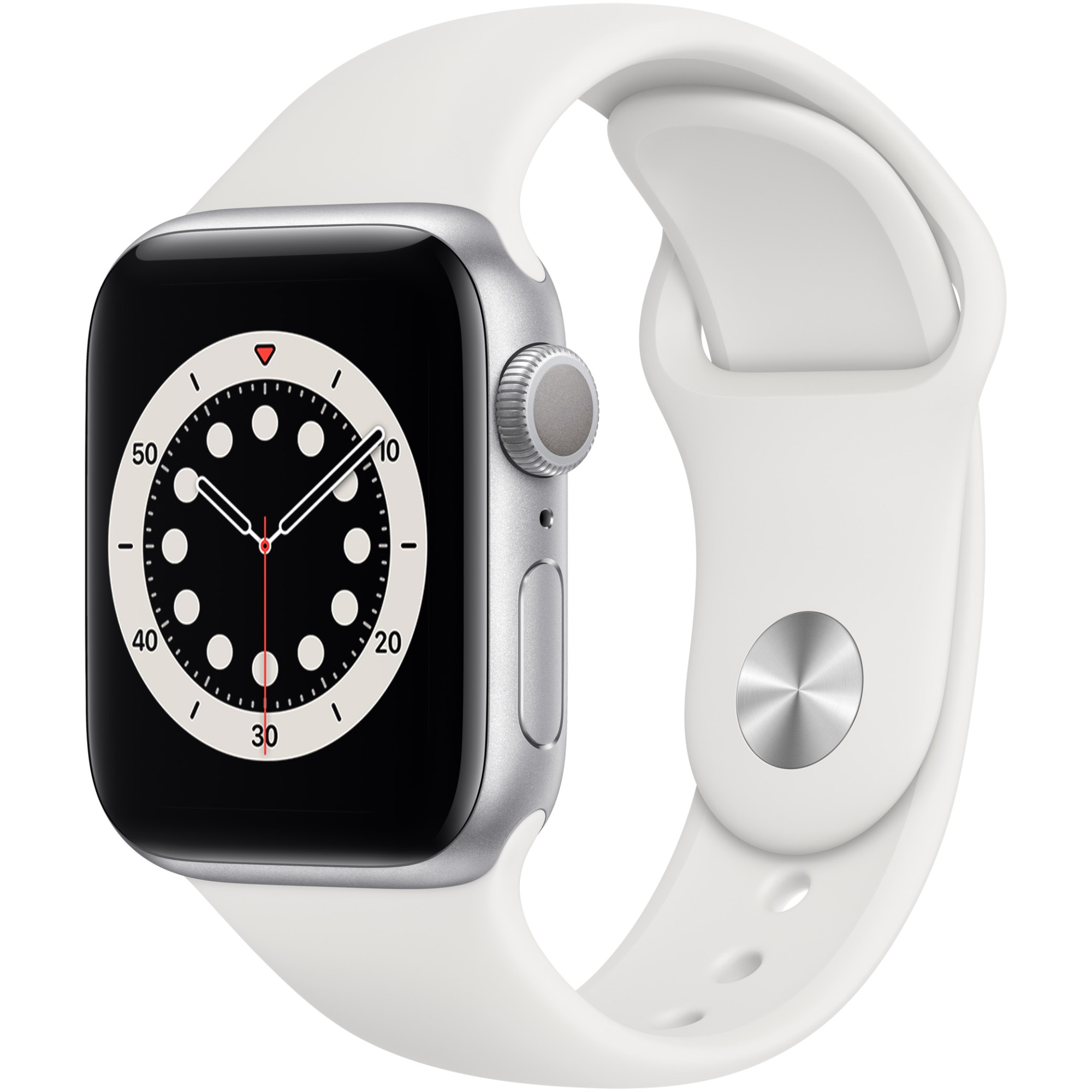 Fotografie Apple Watch 6, GPS, Carcasa Silver Aluminium 40mm, White Sport Band