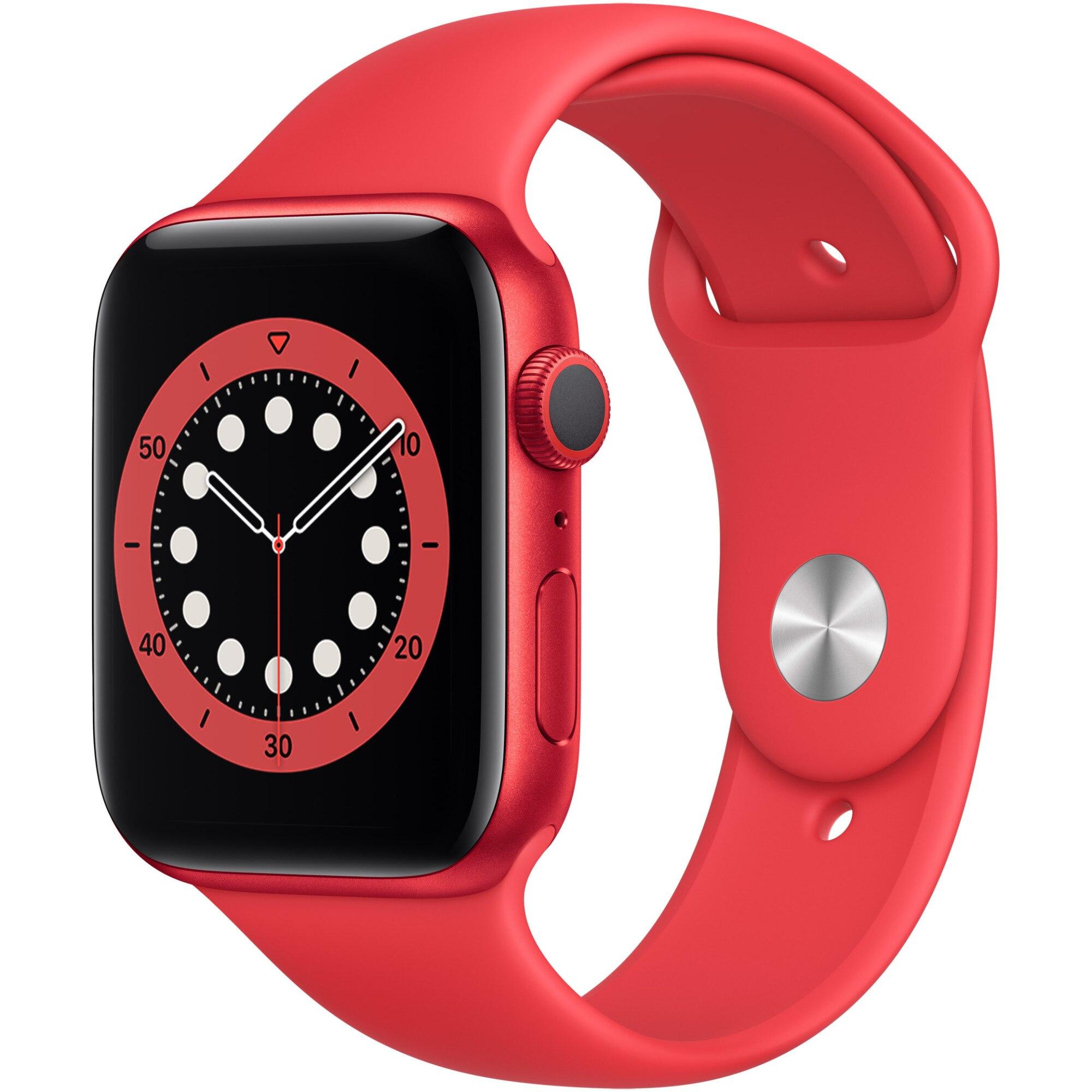 Fotografie Apple Watch 6, GPS, Carcasa Red Aluminium 44mm, Red Sport Band