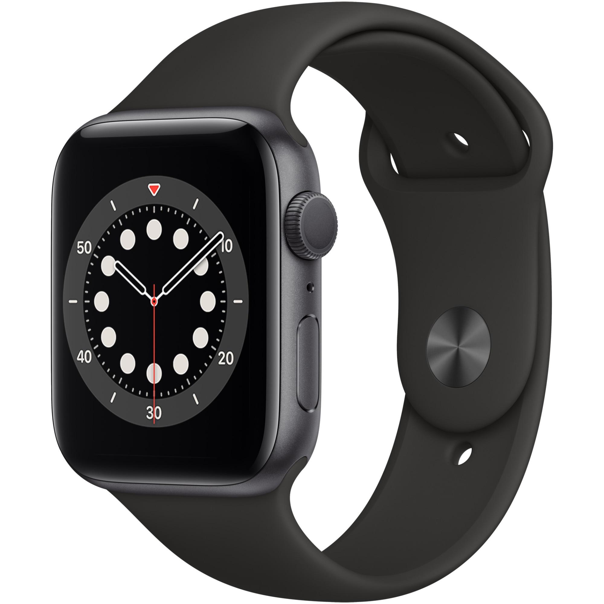 Fotografie Apple Watch 6, GPS, Carcasa Space Gray Aluminium 44mm, Black Sport Band