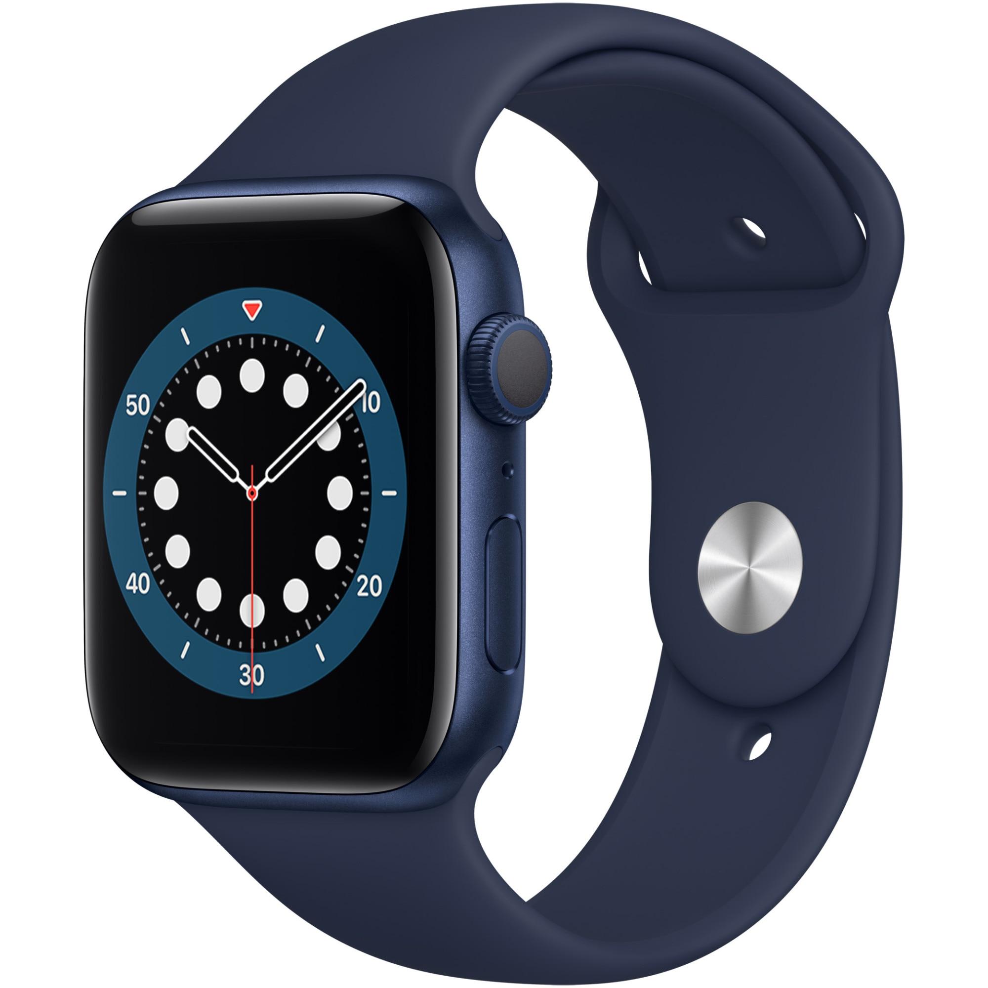 Fotografie Apple Watch 6, GPS, Carcasa Blue Aluminium 44mm, Deep Navy Sport Band