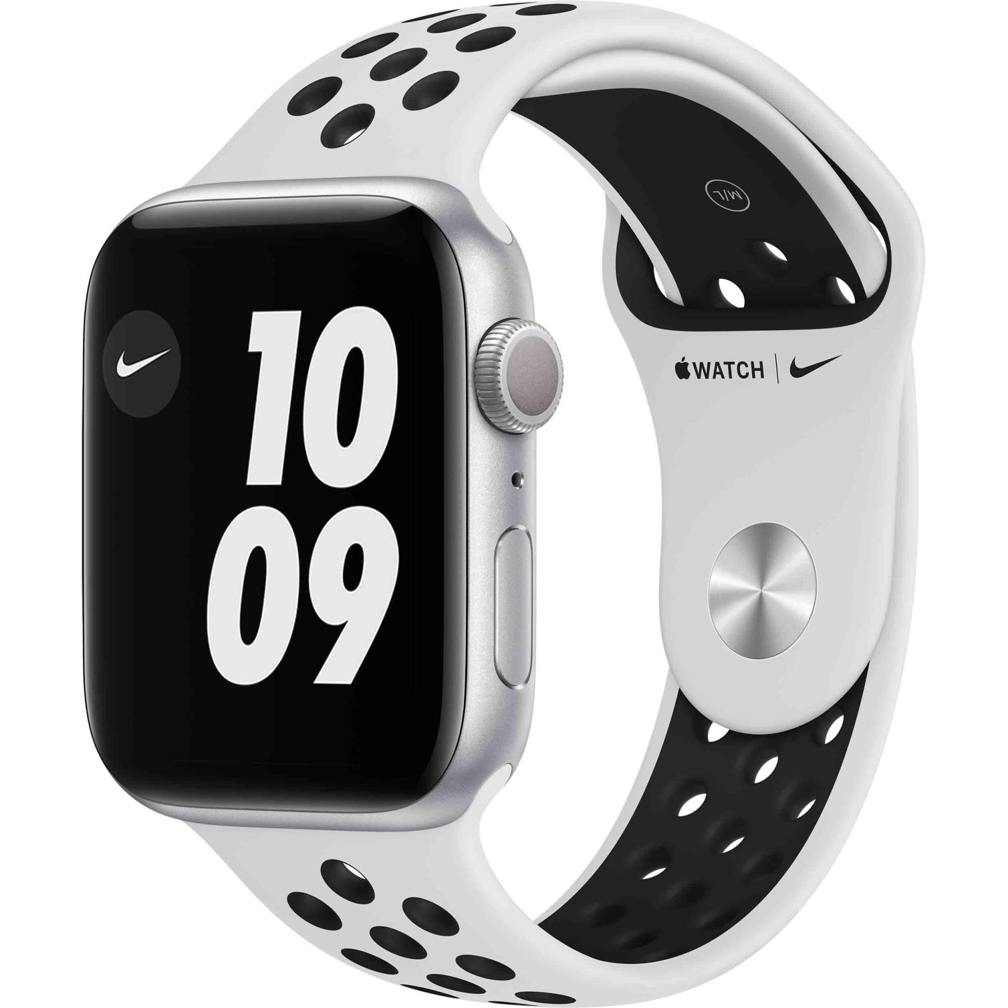 Fotografie Apple Watch Nike 6, GPS, Carcasa Silver Aluminium 44mm, Pure Platinum/Black Nike Sport Band