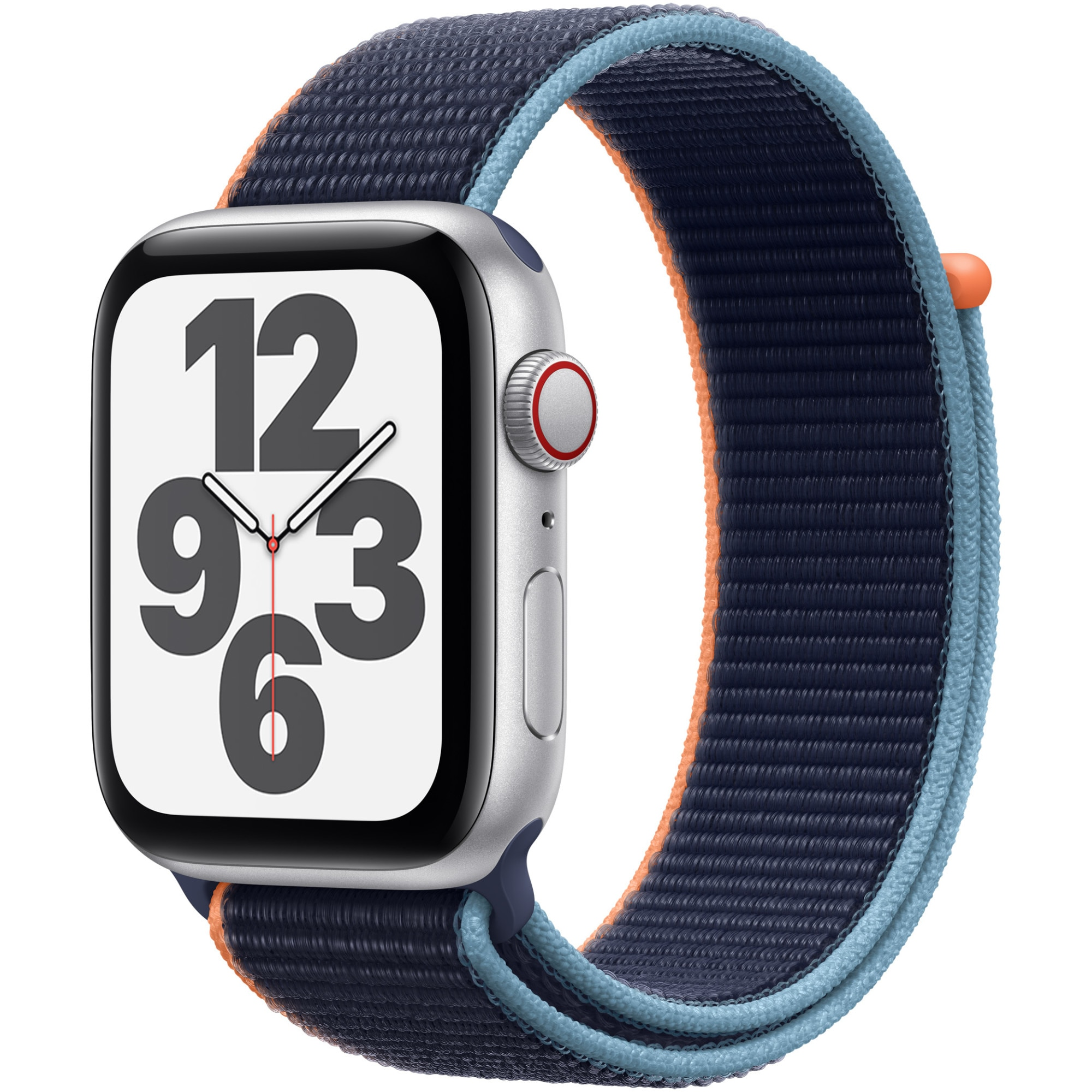 Fotografie Apple Watch SE, GPS, Cellular, Carcasa Silver Aluminium 44mm, Deep Navy Sport Loop