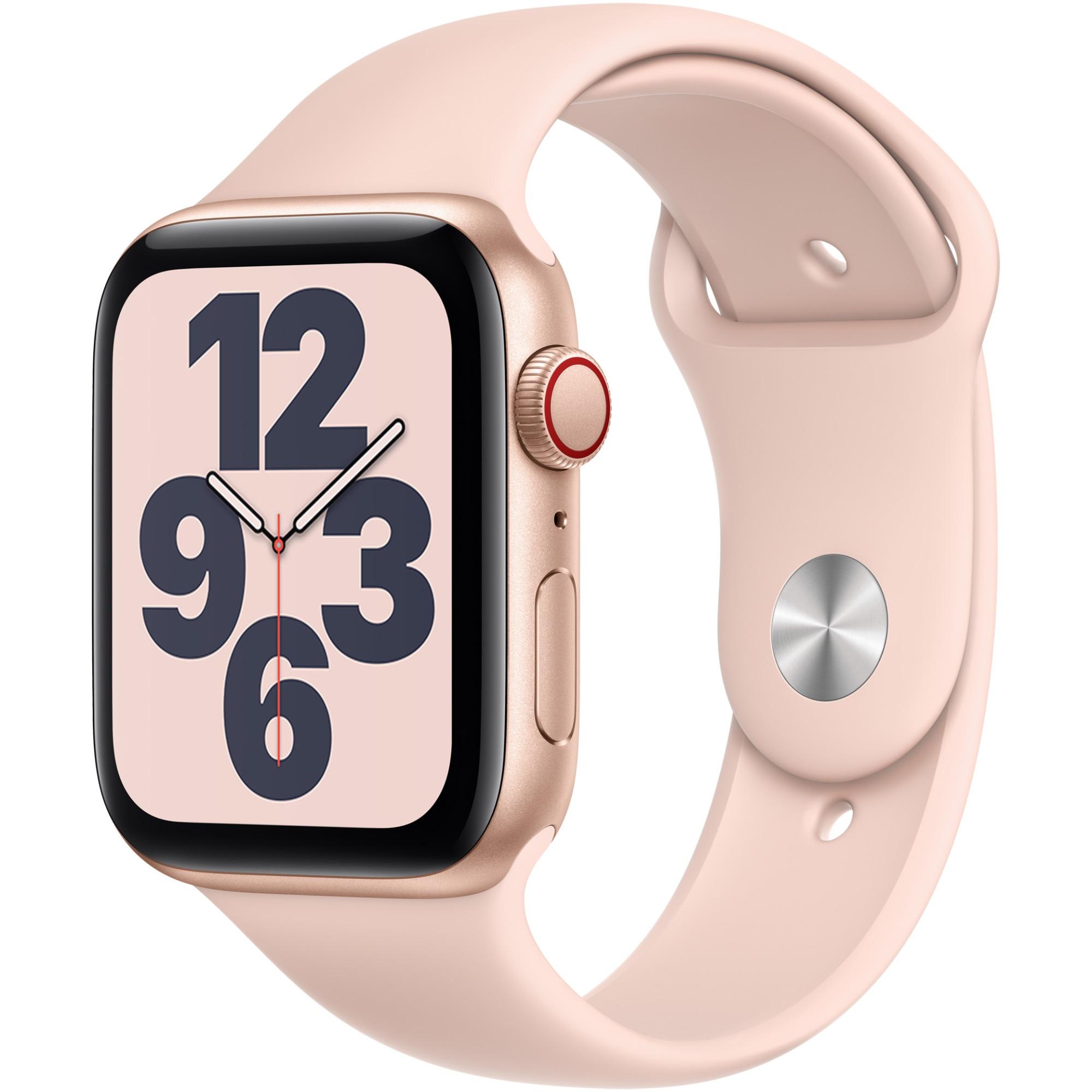 Fotografie Apple Watch SE, GPS, Cellular, Carcasa Gold Aluminium 44mm, Pink Sand Sport Band