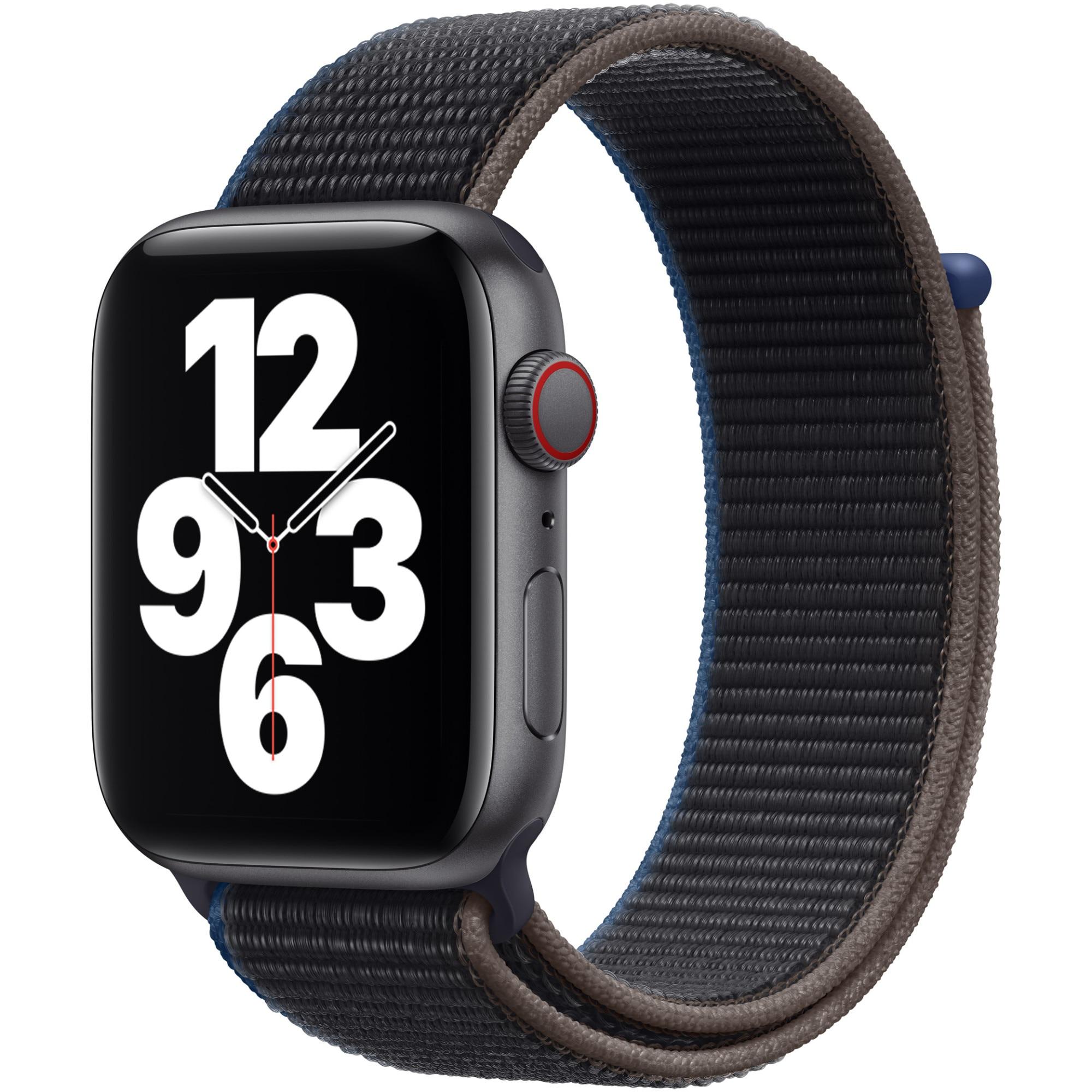 Fotografie Apple Watch SE, GPS, Cellular, Carcasa Space Gray Aluminium 44mm, Charcoal Sport Loop
