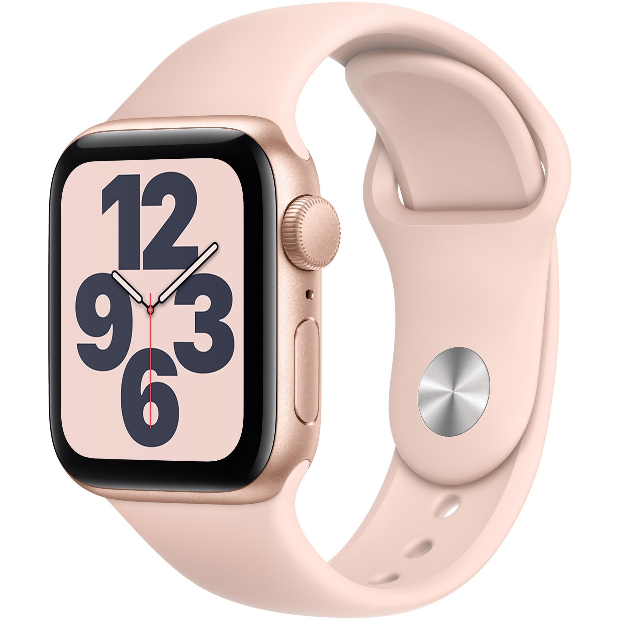 Fotografie Apple Watch SE, GPS, Carcasa Gold Aluminium 40mm, Pink Sand Sport Band