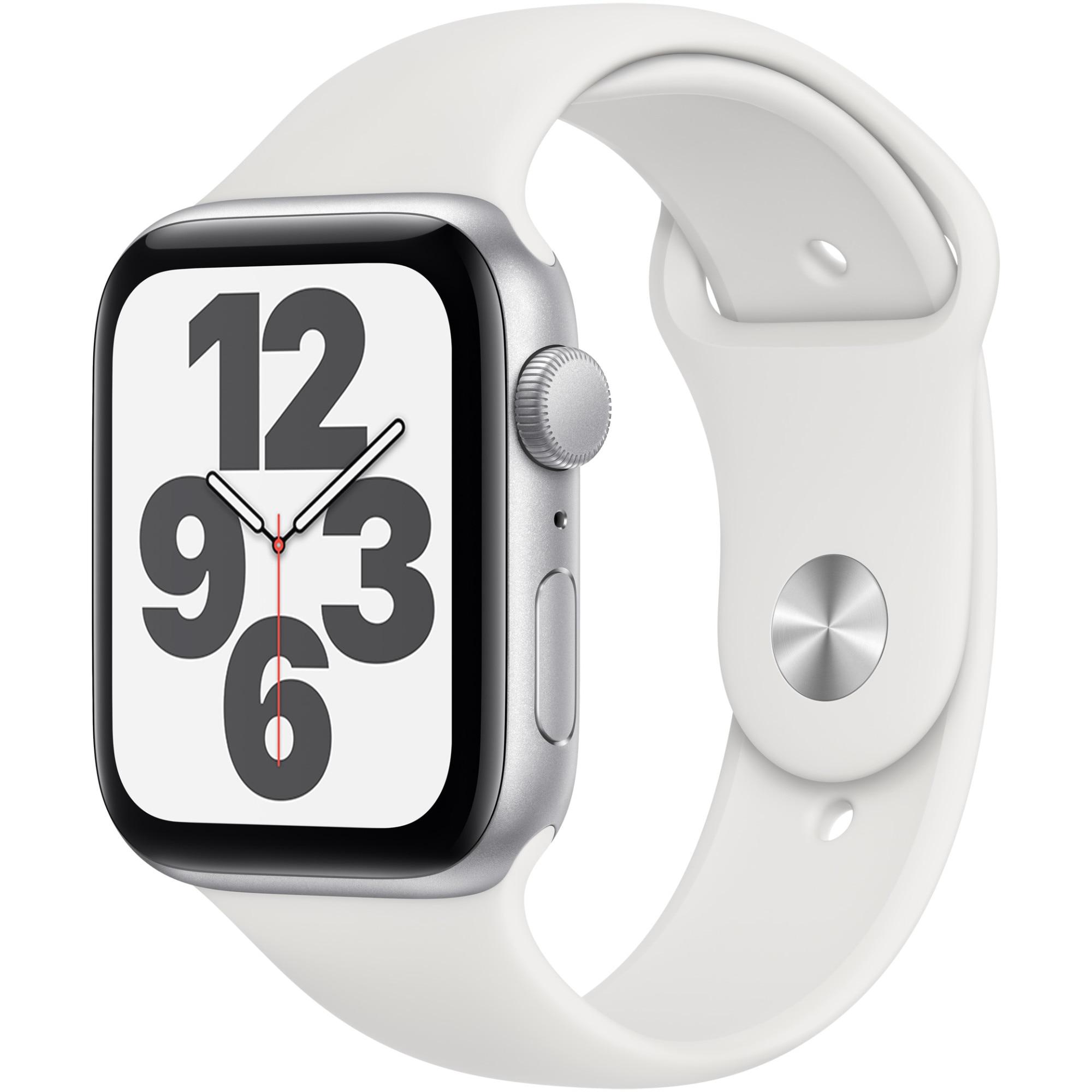 Fotografie Apple Watch SE, GPS, Carcasa Silver Aluminium 44mm, White Sport Band