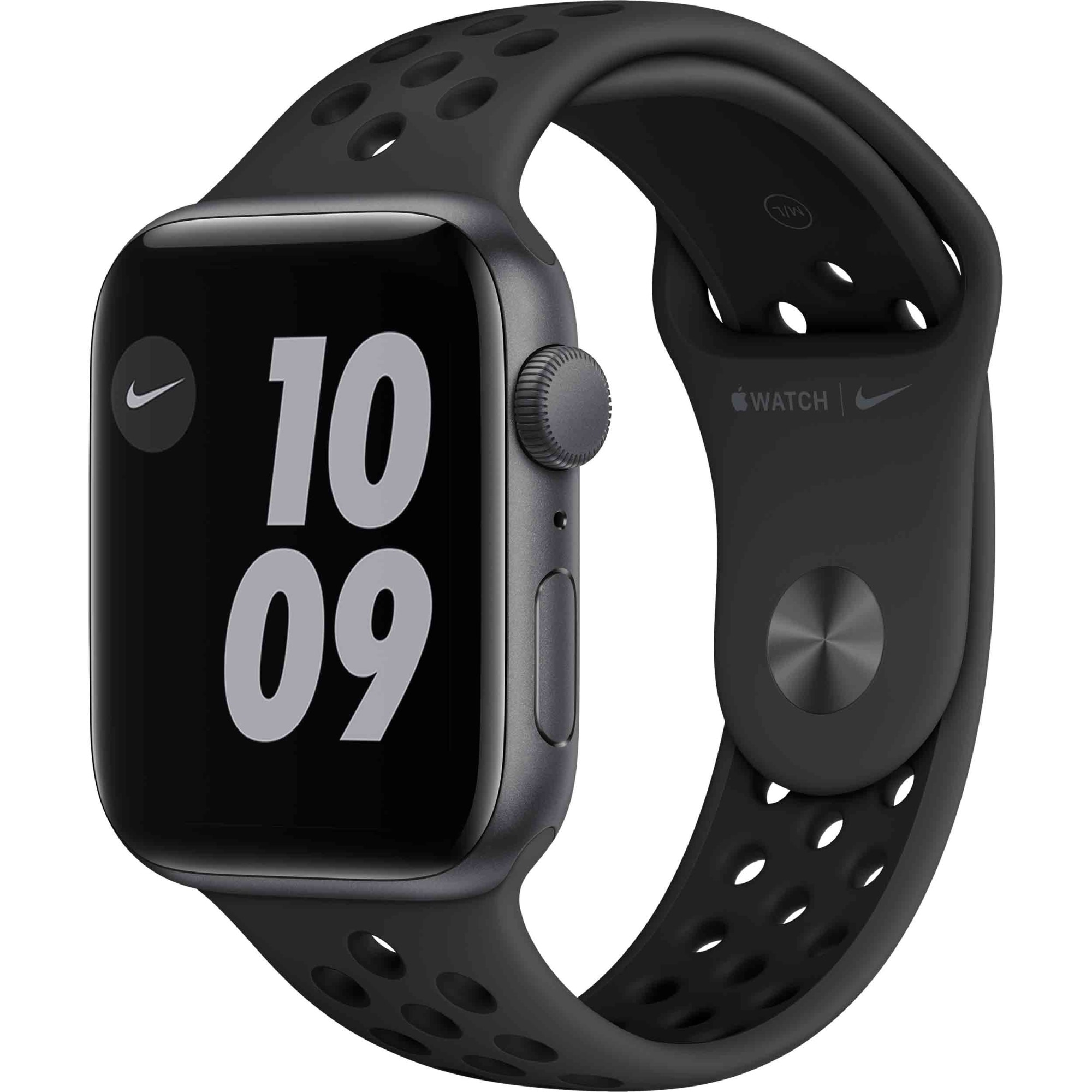 Fotografie Apple Watch Nike SE, GPS, Carcasa Space Gray Aluminium 44mm, Anthracite/Black Nike Sport Band