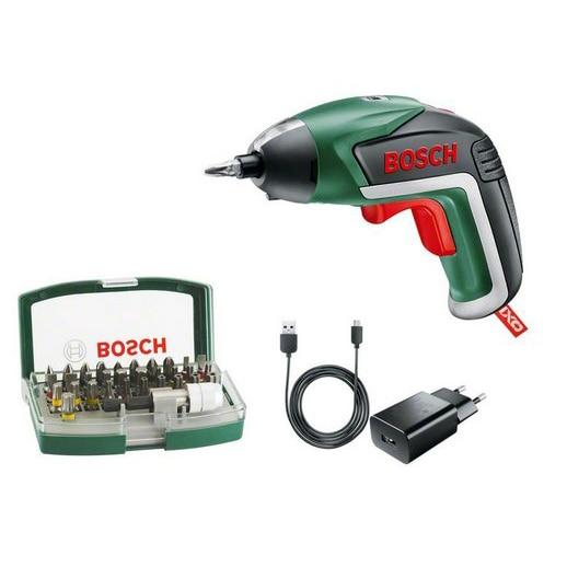Fotografie Surubelnita cu acumulator integrat Bosch IXO 5, 3.6 V, incarcator micro-USB, set de 32 biti