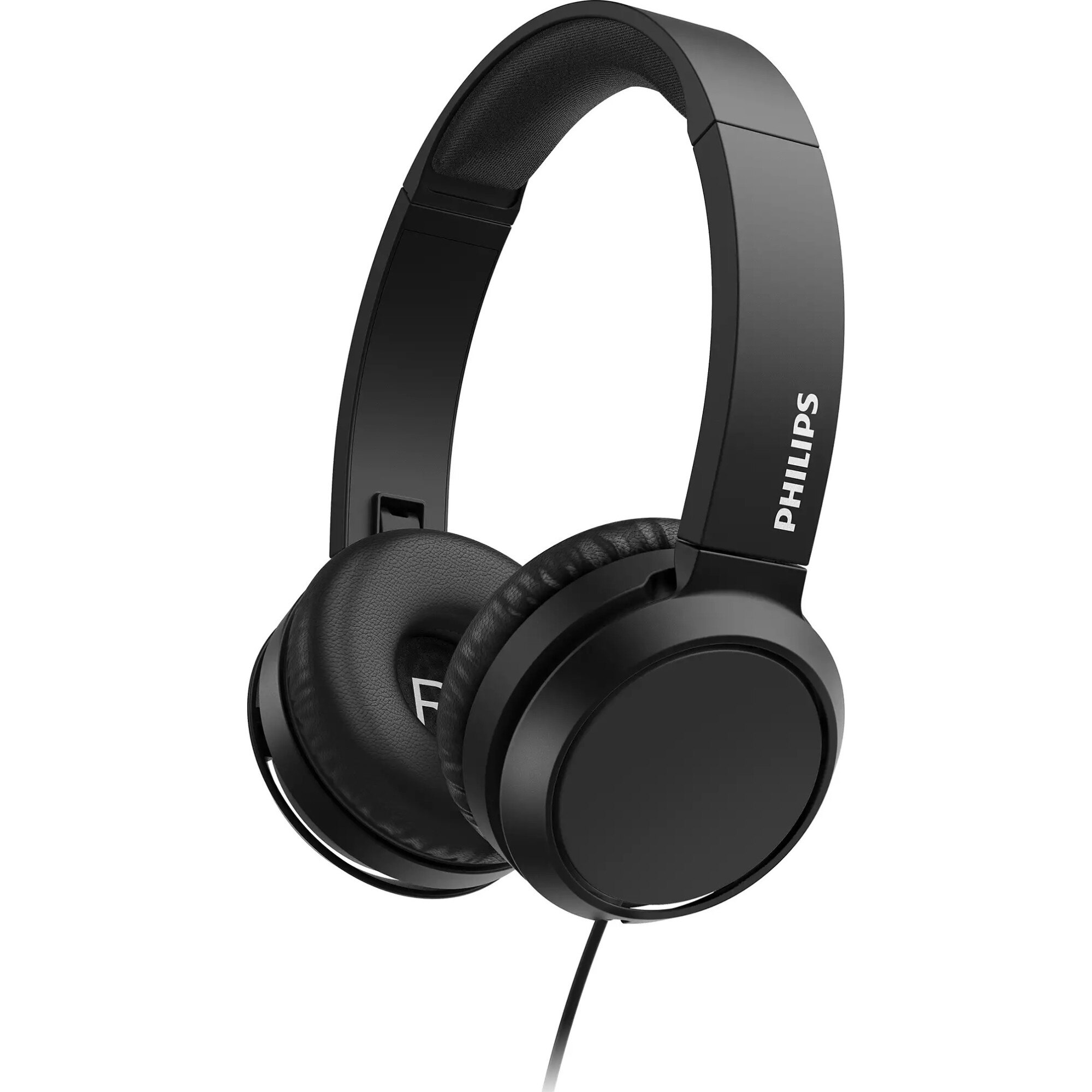 Fotografie Casti Audio On-Ear pliabile Philips, TAH4105BK/00, cu fir, Microfon, Negru