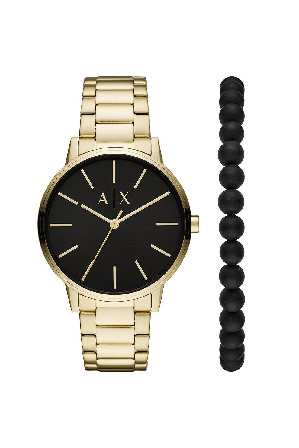 Fotografie Armani Exchange, Set de ceas metalic si bratara cu margele, Auriu