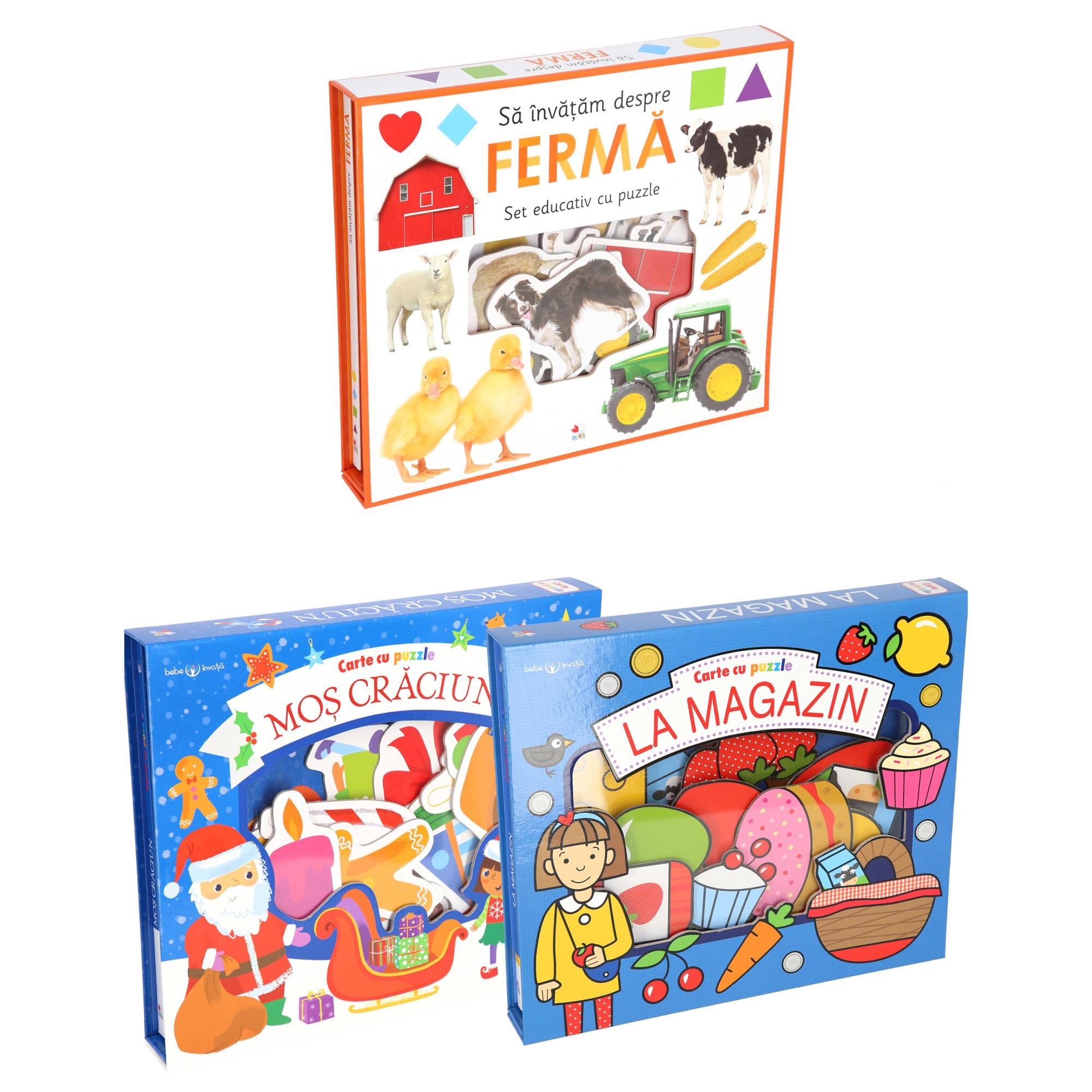 Fotografie Pachet carti cu puzzle Bebe invata, 3 carti