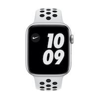 Apple Watch Nike Series 6 GPS, 44 mm-es ezüst alumínium tok tiszta platinával / fekete Nike sportszíj