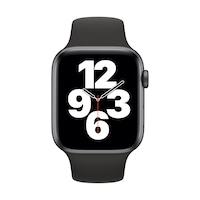 Apple Watch SE GPS, 44 mm asztroszürke alumínium tok fekete sportszíj