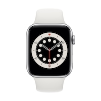 Apple Watch Series 6 GPS, 44 mm-es ezüst alumínium tok fehér sportszíj