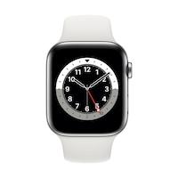 Apple Watch Series 6 GPS + Cellular, 44mm ezüst rozsdamentes acél tok fehér sportpszíj