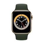 Apple Watch Series 6 GPS + Cellular, 44 mm-es arany rozsdamentes acél tok, ciprusi zöld sportszíj