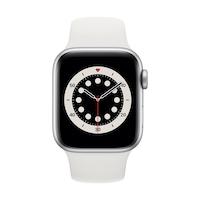 Apple Watch Series 6 GPS, 40 mm-es ezüst alumínium tok fehér sportszíj