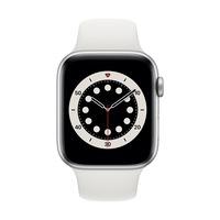 Apple Watch Series 6 GPS + Cellular, 44 mm-es ezüst alumínium tok fehér sportszíj