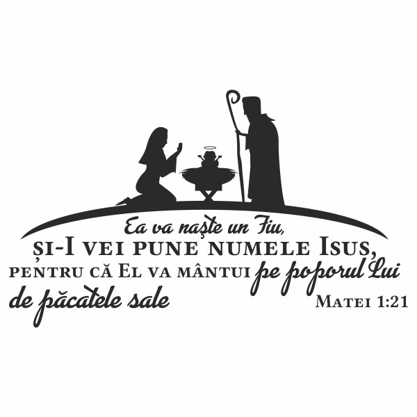 Sticker Decorativ Pentru Familie Priti Global Cu Verset Din Biblie Ea Va Naste Un Fiu Matei 1 21 Negru 118 X 70 Cm Emag Ro