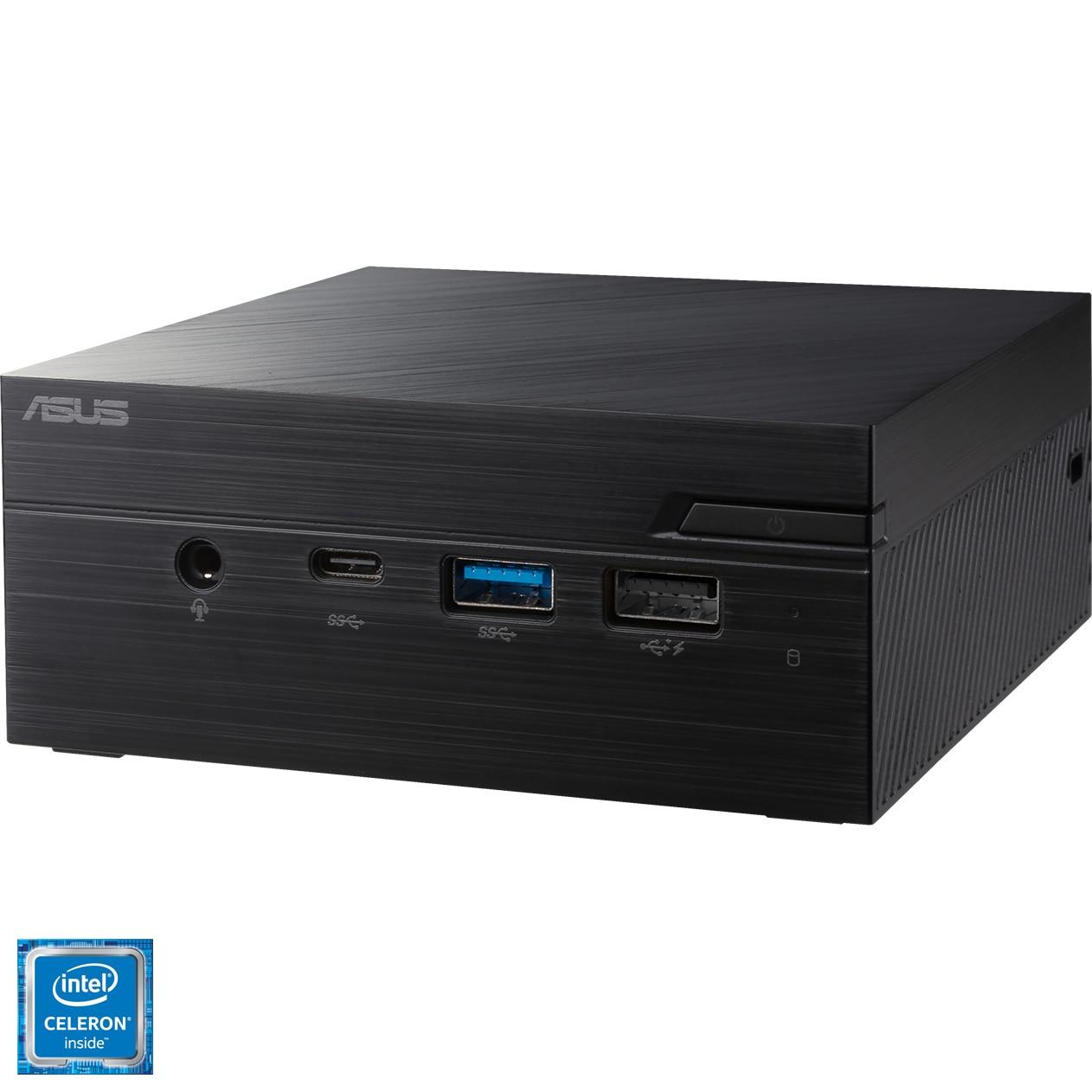 Fotografie Mini PC ASUS PN40-BBC521MV cu procesor Intel Celeron® N4020 pana la 2.80GHz, fara RAM, fara stocare, Intel® UHD Graphics 600, No OS