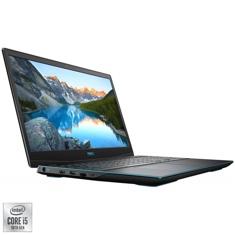 "Fotografie Laptop Gaming Dell Inspiron G3 3500 cu procesor Intel Core i5-10300H 4.50 GHz, 15.6"", Full HD, 120Hz, 8GB, 256GB SSD+ 1TB HDD, NVIDIA GeForce GTX 1650 Ti 4GB, Ubuntu, Eclipse Black"