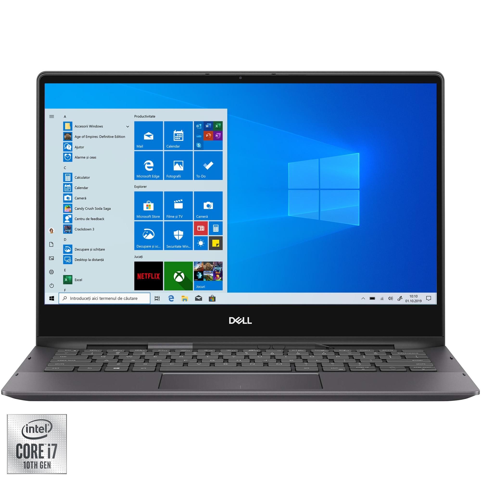 "Fotografie Laptop 2 in 1 Dell Inspiron 13 7391 cu procesor Intel Core i7-10510U pana la 4.90 GHz, 13.3"", UHD, Touch, 16GB, 512GB SSD, Intel UHD Graphics 620, Windows 10 Pro, Black"