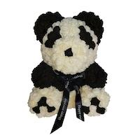 Rózsa maci díszdobozban, örök virág maci - panda 40 cm