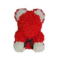 Rózsa maci díszdobozban, örök virág maci - piros-fehér 40 cm