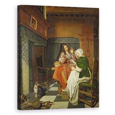 Tablou canvas - Cornelis de Man - Jucatorii de sah, 80 x 100 cm