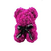 Rózsa maci díszdobozban, örök virág maci - pink 25 cm