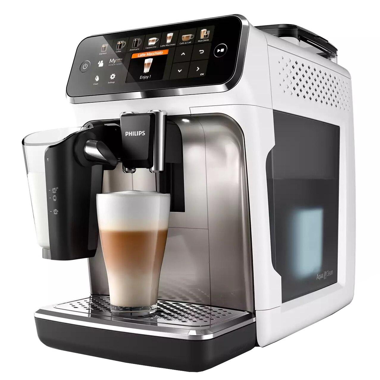 Fotografie Espressor automat Philips Seria 5400 EP5443/90, sistem de lapte LatteGo, 12 bauturi, display digital TFT si pictograme color, filtru AquaClean, rasnita ceramica, optiune cafea macinata, functie MEMO 4 profiluri, Alb