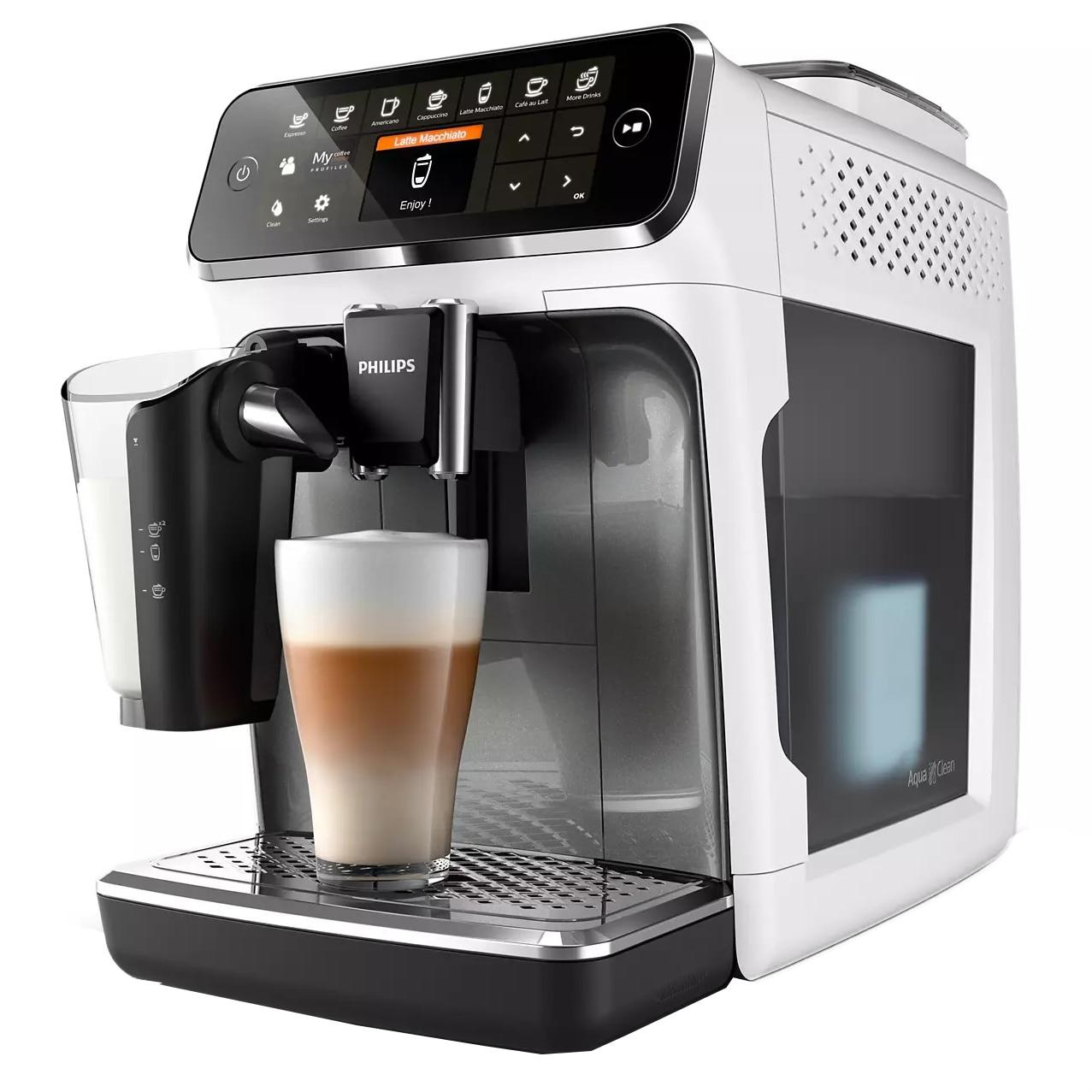 Fotografie Espressor automat Philips Seria 4300 EP4343/70, sistem de lapte LatteGo, 8 bauturi, display digital TFT in 3 culori, filtru AquaClean, rasnita ceramica, optiune cafea macinata, functie MEMO 2 profiluri, Alb