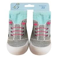 Gumitalpú lány zokni-papucs, benti cipő, baba mamusz - Fűzős (Szürke, almazöld, 22-es)