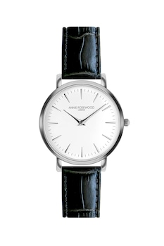 Annie Rosewood, Часовник с кожена каишка, Сребрист / Бял / Черен