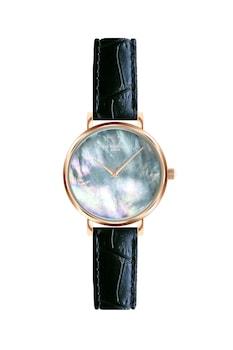 Annie Rosewood, Овален часовник с кожена каишка, Розово-златист / Черен