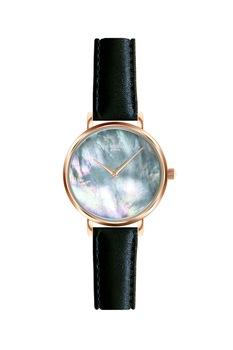 Annie Rosewood, Кварцов часовник с кожена каишка и седеф, Розово-златист / Черен