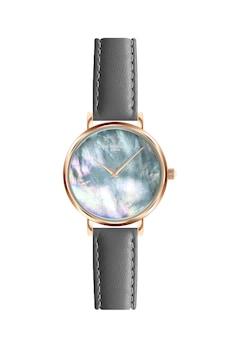 Annie Rosewood, Кварцов часовник с кожена каишка и седеф, Розово-златист / Сив