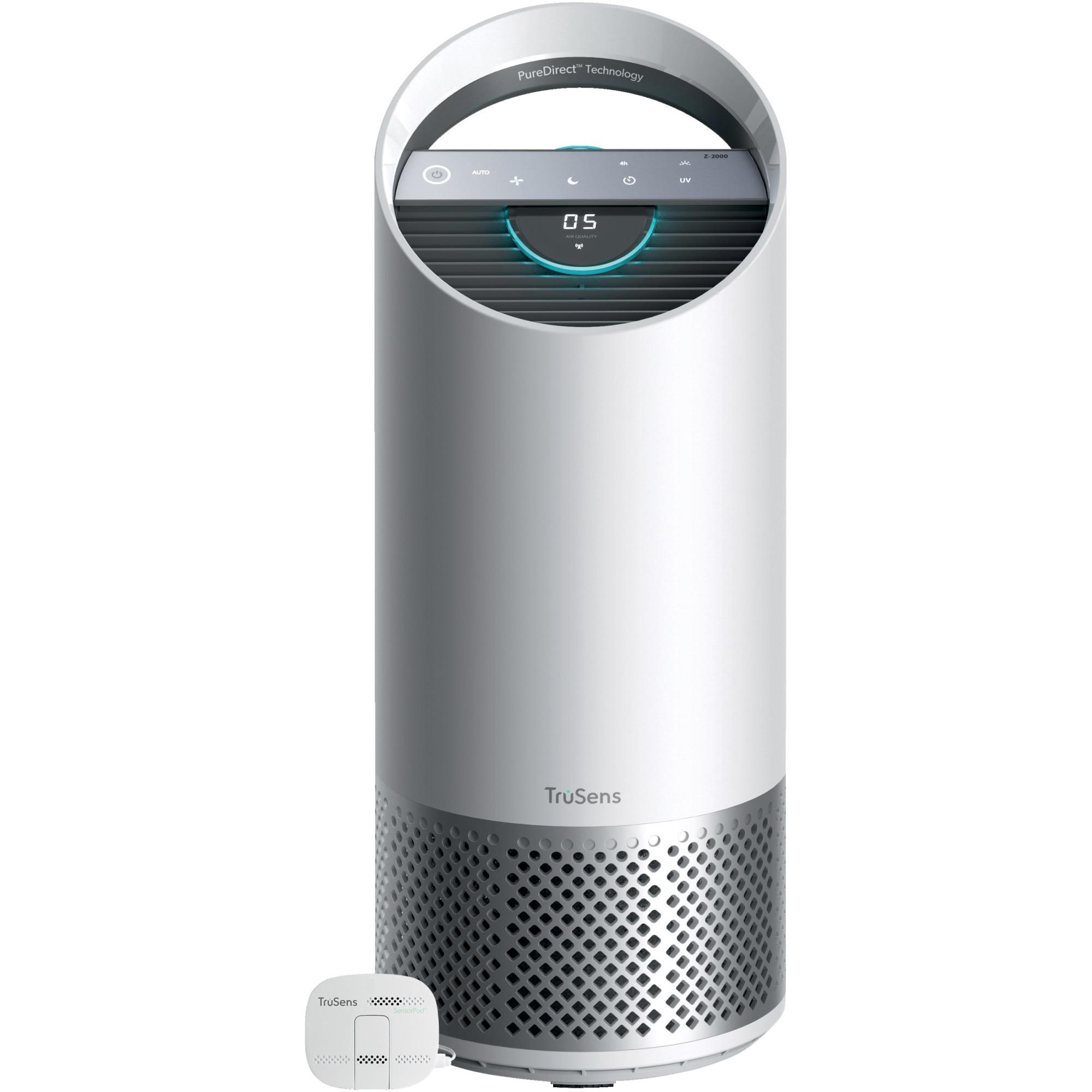 Fotografie Purificator aer Leitz TruSens™ Z-2000 cu SensorPod™ pentru monitorizare calitate aer, doua fluxuri de aer, sterilizare UV, filtre DuPont carbon si HEPA360, 35m², indicator schimb filtre, display touch, silentios, timer, mod de noapte, alb