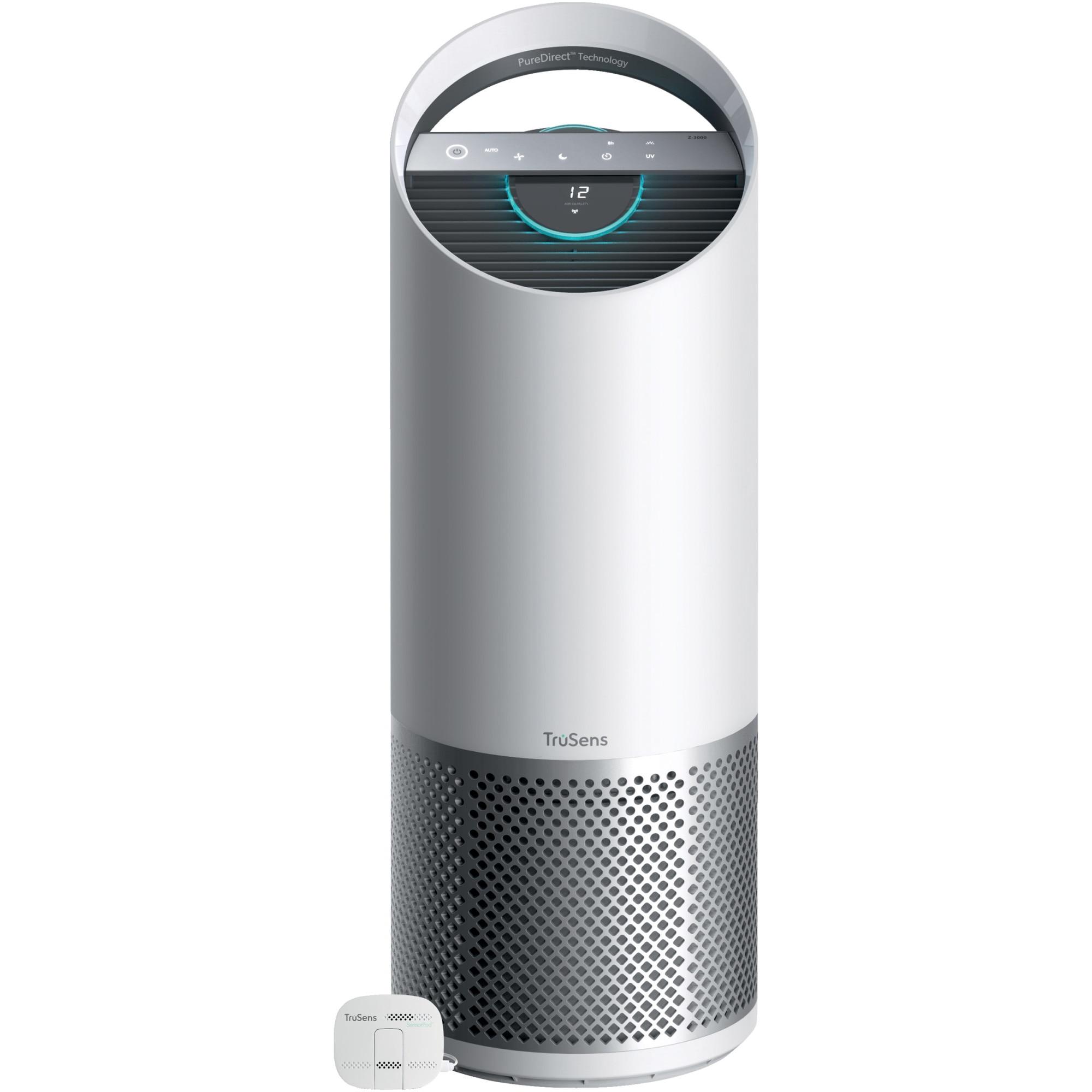 Fotografie Purificator aer Leitz TruSens™ Z-3000 cu SensorPod™ pentru monitorizare calitate aer, doua fluxuri de aer, sterilizare UV, filtre DuPont carbon si HEPA360, 70m², indicator schimb filtre, display touch, silentios, timer, mod de noapte, alb