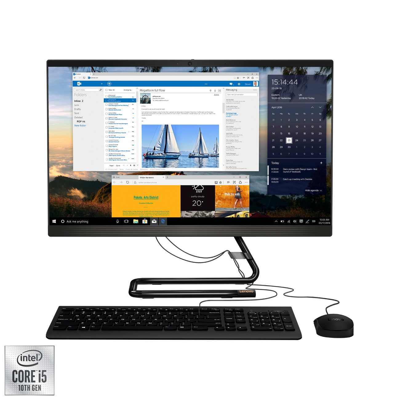 "Fotografie Sistem All-in-One Lenovo IdeaCentre 3 24IMB05 cu procesor Intel® Core™ i5-10400T pana la 3.60 GHz, Comet Lake, 23.8"", Full HD, IPS, 8GB DDR4, 256GB SSD M.2, Intel UHD Graphics, Free DOS"