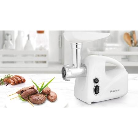 Masina de tocat carne Rohnson R5412, 1500W, revers, 3 site, accesorii de carnati si rosii, Alb