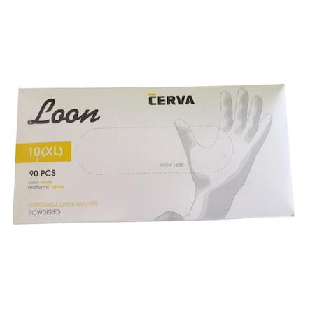 Eldobható latex kesztyű, porított, LOON, 100 db, fehér, XL méret