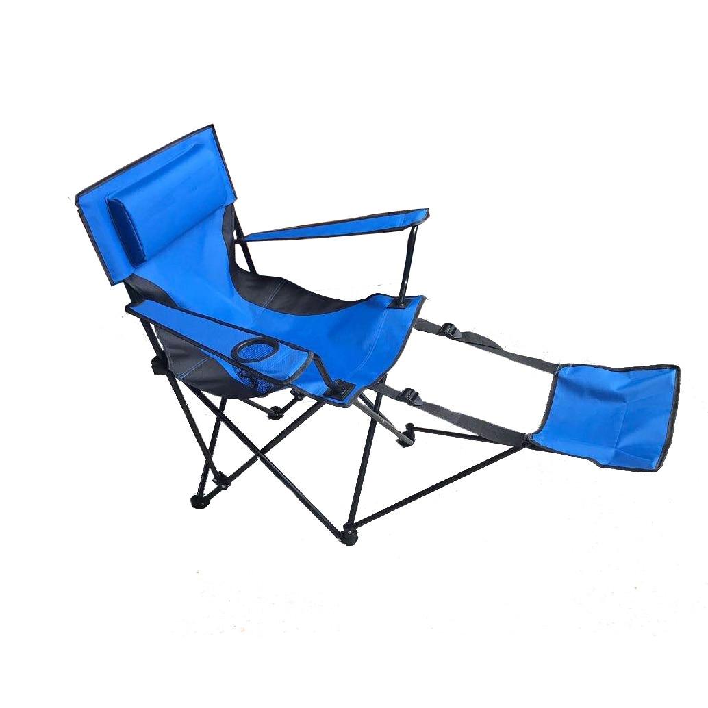 Fotografie Scaun camping Zelten cu perna si suport de picioare, albastru, 118x55x88cm